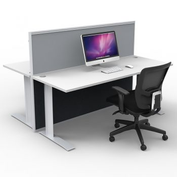 Smart 2-Way Desk Pod with One Floor Standing Screen Divider, Grey Screen, Image 1