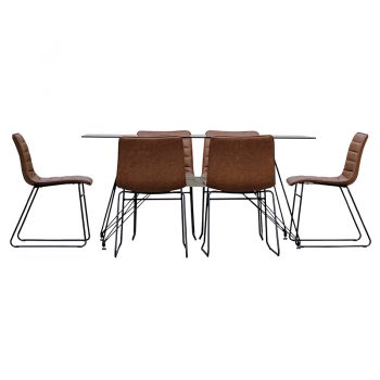 Rozelle Rectangular Meeting Table and 6 Randwick Chairs, Side View
