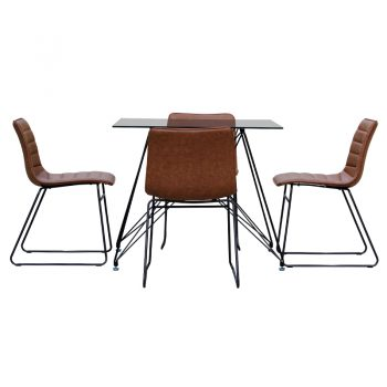Rozelle Square Meeting Table and 4 Randwick Chairs, Side View