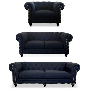 Chesterfield Lounge Range, Black Linen Weave Fabric