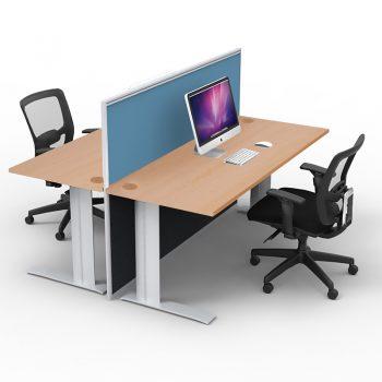 Smart 2-Way Straight Desk Pod with One Floor Standing Screen Divider, Beech Desk Tops, Blue Screen Fabric