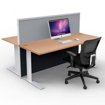 Smart 2-Way Straight Desk Pod with One Floor Standing Screen Divider, Beech Desk Tops, Grey Screen Fabric