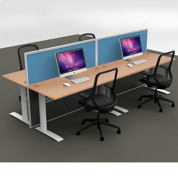 Smart 4-Way Straight Desk Pod with Two Floor Standing Screen Dividers, Beech Desk Tops, Blue Screen Fabric