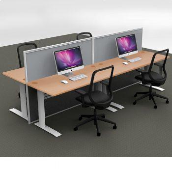 Smart 4-Way Straight Desk Pod with Two Floor Standing Screen Dividers, Beech Desk Tops, Grey Screen Fabric