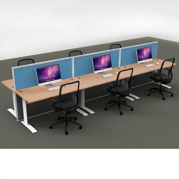 Smart 6-Way Straight Desk Pod with Three Floor Standing Screen Dividers, Beech Desk Tops, Blue Screen Fabric