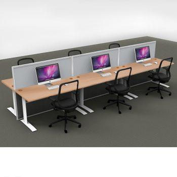 Smart 6-Way Straight Desk Pod with Three Floor Standing Screen Dividers, Beech Desk Tops, Grey Screen Fabric