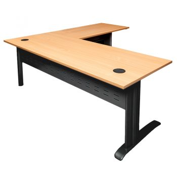 Smart Desk with (Right Hand) Attached Return, Beech Top, Satin Black Base