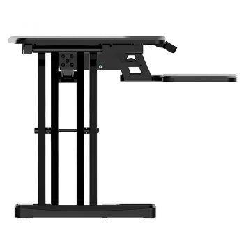 High Rise Electric Height Adjustable Desktop Stand, Black. End View