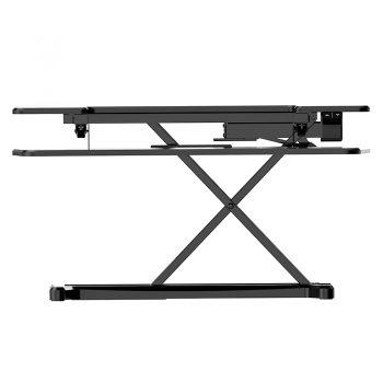 High Rise Electric Height Adjustable Desktop Stand, Black. Raised Front View