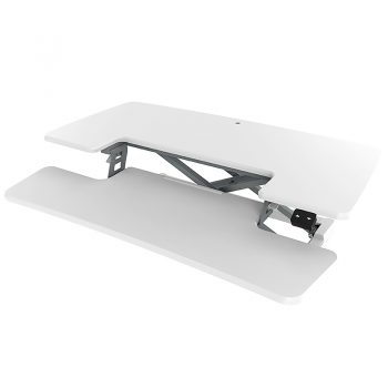 High Rise Electric Height Adjustable Desktop Stand, White. LH Angle View