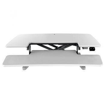 High Rise Electric Height Adjustable Desktop Stand, White. Lowered Front View
