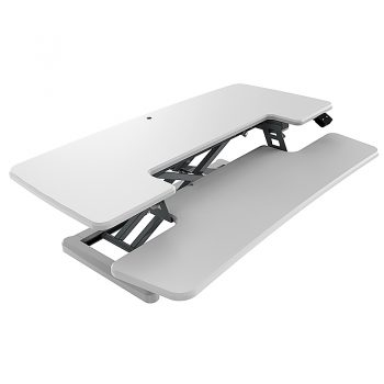 High Rise Electric Height Adjustable Desktop Stand, White. RH Angle View