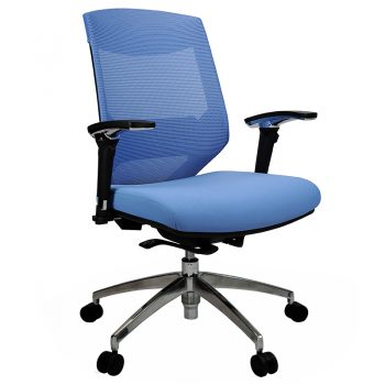 Breathe Chair, Blue with Poished Alloy Base