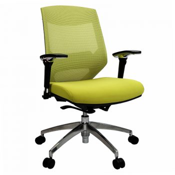 Breathe Chair, Green with Poished Alloy Base