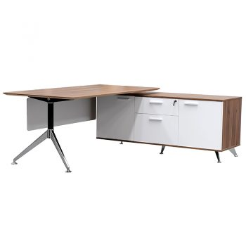 Deluxe Executive Desk with Right Hand Attached Storage Cupboard. Casnan and White