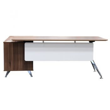 Deluxe Executive Desk with Right Hand Attached Storage Cupboard. Casnan and White, Front View