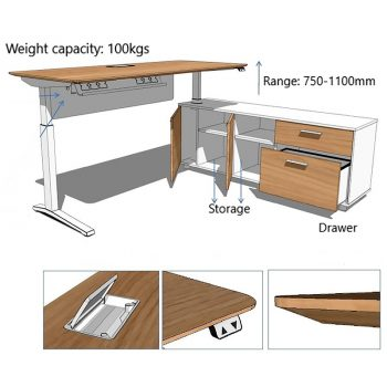 Deluxe Executive Electric Height Adjustable Desk Dimensions
