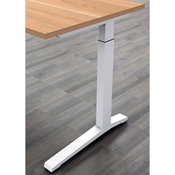 Deluxe Executive Electric Height Adjustable Desk Leg Detail, Virginia Walnut and White