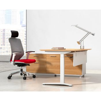 Deluxe Executive Electric Height Adjustable Desk with Left Hand Attached Storage Cupboard. Virginia Walnut and White