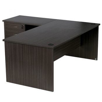 Elite Straight Desk with Left Hand Attached Return and Drawer Unit