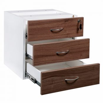 Essential Fixed Drawer Unit, 3 Personal Drawers, Open