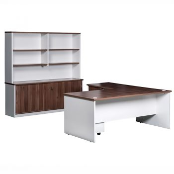 Essential Straight Desk with Left Hand Attached Return, Sliding Door Credenza and Hutch