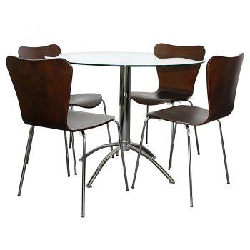 Jose Chocolate Chairs, Elena Table