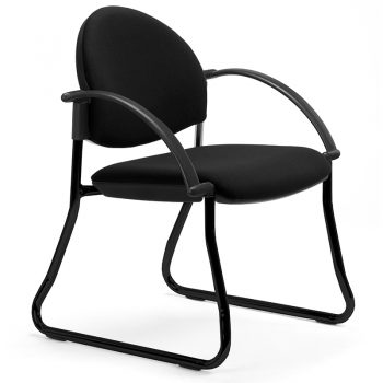 Juni Curved Back Chair, Black 4 Sled Frame, with Arms