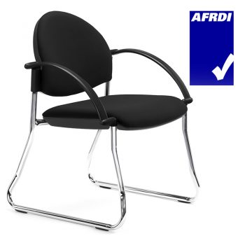 Juni Sled Frame Curved Back Visitor Chair with Arms
