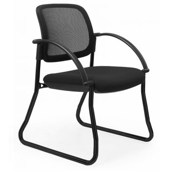 Juni Mesh Back Chair, Black Sled Frame, with Arms