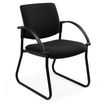 Juni Square Back Chair, Black Sled Frame, with Arms