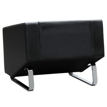 Marko Lounge Chair, Black Leather, Rear View