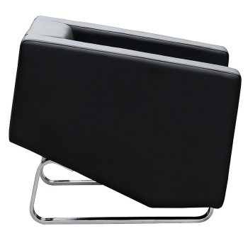 Marko Lounge Chair, Black Leather, Side View
