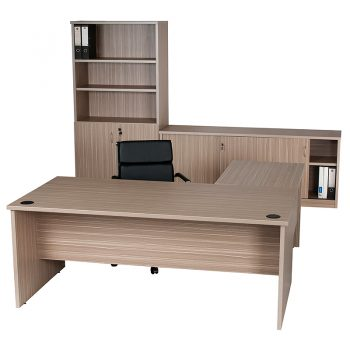 Primo Desk and Left Hand Attached Return, Wall Unit with Sliding Door Credenza