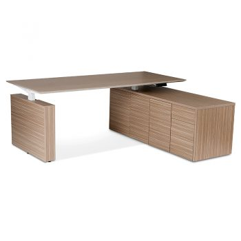 Primo Electric Height Adjustable Desk with Right Hand Storage Cupboard