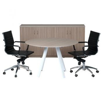Primo Hinged Door Credenza, with Primo Plus Round Meeting Table