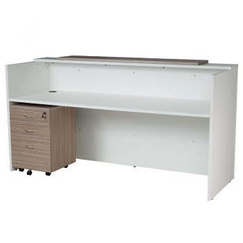 Primo Reception Desk, Inside View with Optional Primo Mobile Drawer Unit