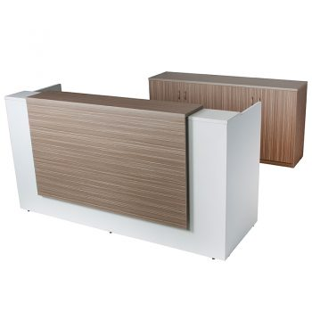 Primo Reception Desk with Hinged Door Credenza