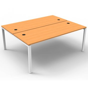 Modular 2 Back to Back Desks, Beech Tops, No Screen Dividers
