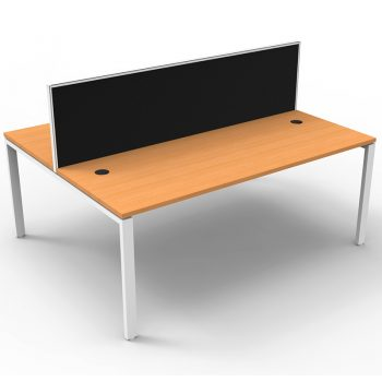 Modular 2 Back to Back Desks, Beech Tops with Screen Dividers