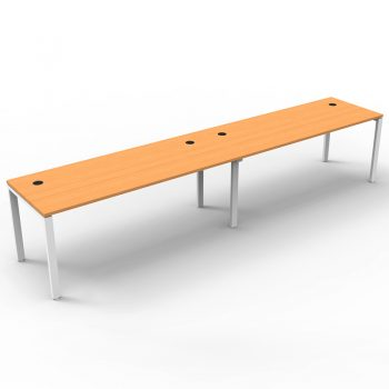 Modular 2 Inline Desks, Beech Tops, No Screen Dividers
