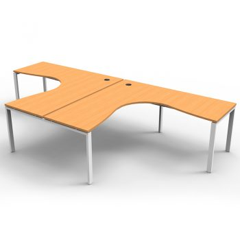 Modular 2 Way Corner Workstation, Beech Tops, No Screen Dividers