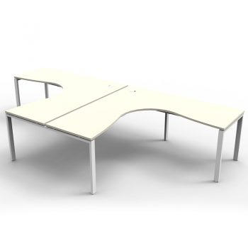 Modular 2 Way Corner Workstation, White Tops, No Screen Dividers