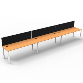 Modular 3 Inline Desks, Beech Top with Screen Dividers