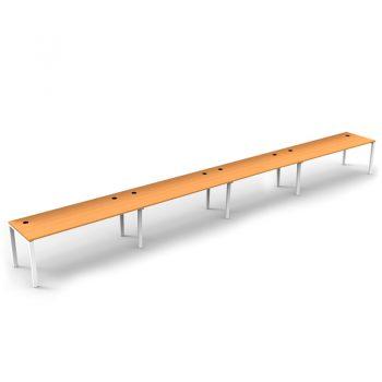 Modular 4 Inline Desks, Beech top