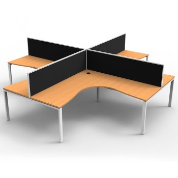 Modular 4 Way Corner Workstation, Beech Tops, with Screen Dividers