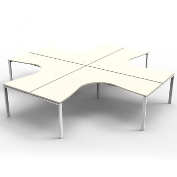 Modular 4 Way Corner Workstation, White Tops, No Screen Dividers