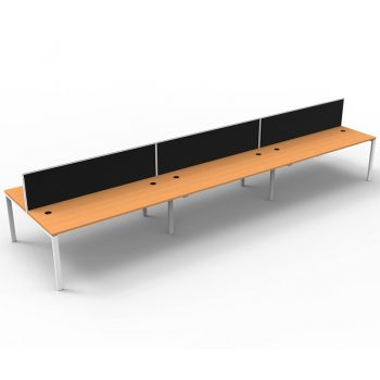 Modular 6 Back to Back Desks, Beech Tops with Screen Dividers