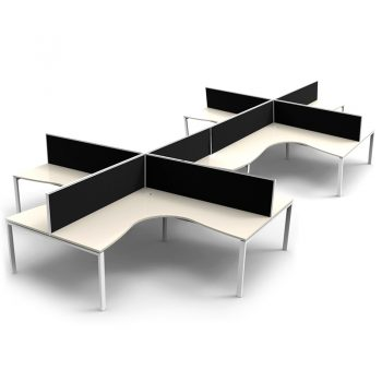 Modular 8 Way Corner Workstation, White Tops, with Screen Dividers