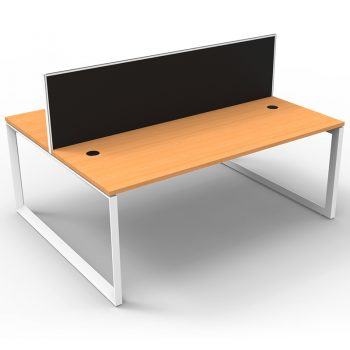 Modular Loop Leg 2 Back to Back Desks, Beech Tops with Screen Dividers